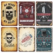 Pósteres de barbería Vintage 2020 nuevas herramientas de corte de pelo serie Metal estaño signo de hierro placa colgante pinturas pegatinas de pared placas