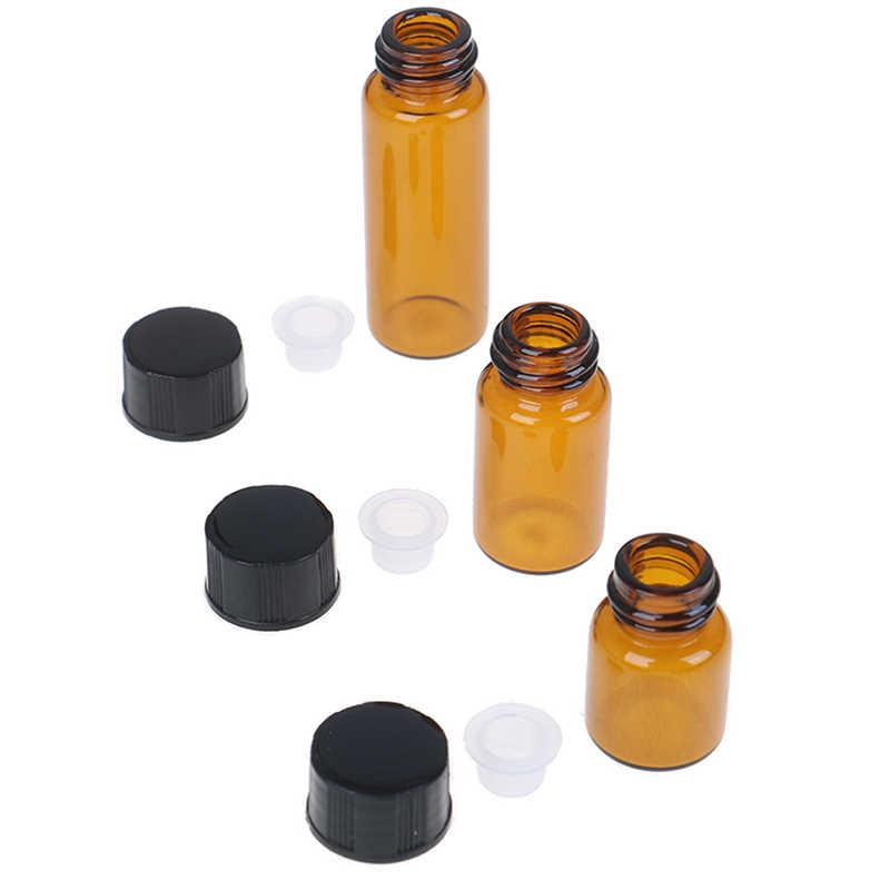 10 szt. Uniwersalny 1ml Mini bursztynowy pusty szklany olejek eteryczny butelka oleju perfumy fiolka z otworem redukcyjnym Cap czarny pojemnik