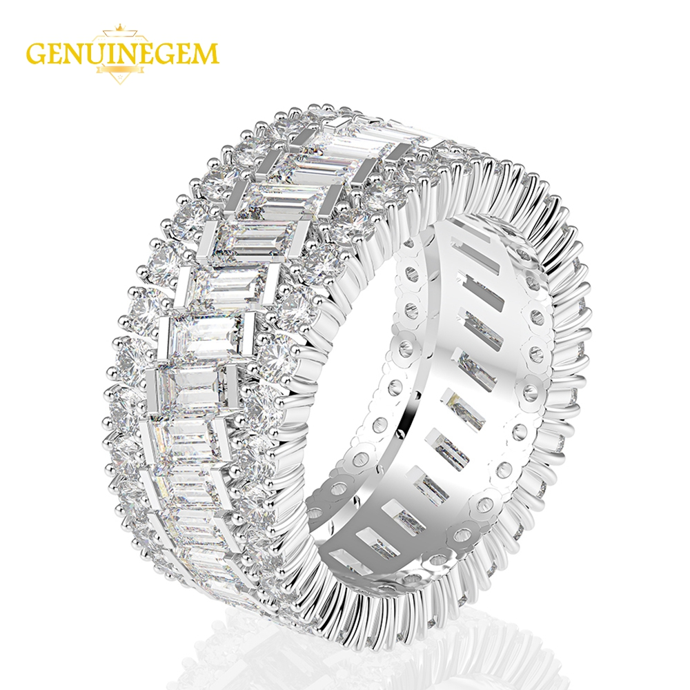 Image 3 - Jewepisode 100% Pure 925 Sterling Silver Created Moissanite Circle Finger Rings for Women Engagement Jewelry Christmas GiftsRings   -