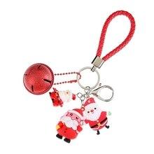 2019 Fashion Cute Tree Santa Claus snowman elk Christmas Key chain key pendant keyring for women christmas jewelry Drop shipping
