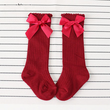 New Solid Color Kids Socks Toddlers Baby Girls Shoes Sweet Big Bow Knee Long Soft Cotton Baby Socks Kids Shoes Children Socks cheap EFKGH TX290