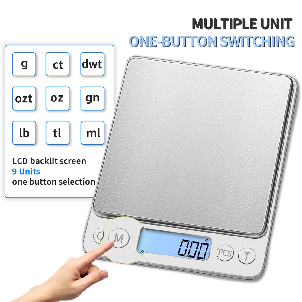 KUBEI 3000g/0.1g 500/0.01g Precision LCD Electronic Digital Scale Mini Grams Weight Balance Scales For Food  Coffee Jewelry