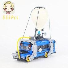 Diy ônibus de ar mini blocos de construção móveis tijolos educacional técnica brinquedos presentes para crianças brinquedos de brinquedo carros caminhões moc 500 + pçs