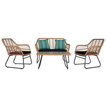 4pcs Outdoor Wicker Rattan Chair Patio Furniture Set with Table Cushions Tan 1 Loveseat Chair+2 Single Chair+1 Table