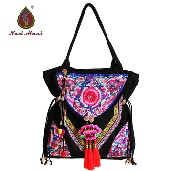 Exotic embroidery bags canvas shoulder bags brand Boho casual women bags
