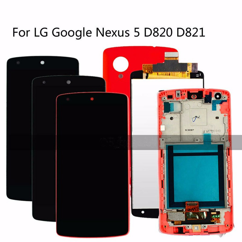 Original Tested LCD For LG Google Nexus 5 D820 D821 Touch Digitizer LCD Display Assembly Frame Replacement