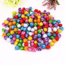 100pcs Gold Thread Fluffy Pom Poms Pompoms Ball 10mm Christmas Tree Decor Mini Wedding DIY Handmade Kid Toys