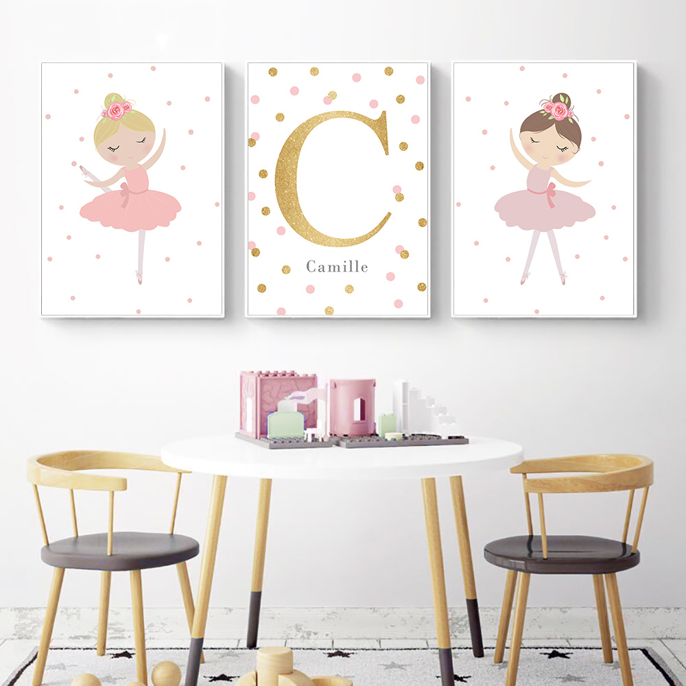 Dancing Girl Canvas Painting Wall Art Personal Nordic Name Poster Nursery Posters And Prints Custom Name Baby Girl Room Decor