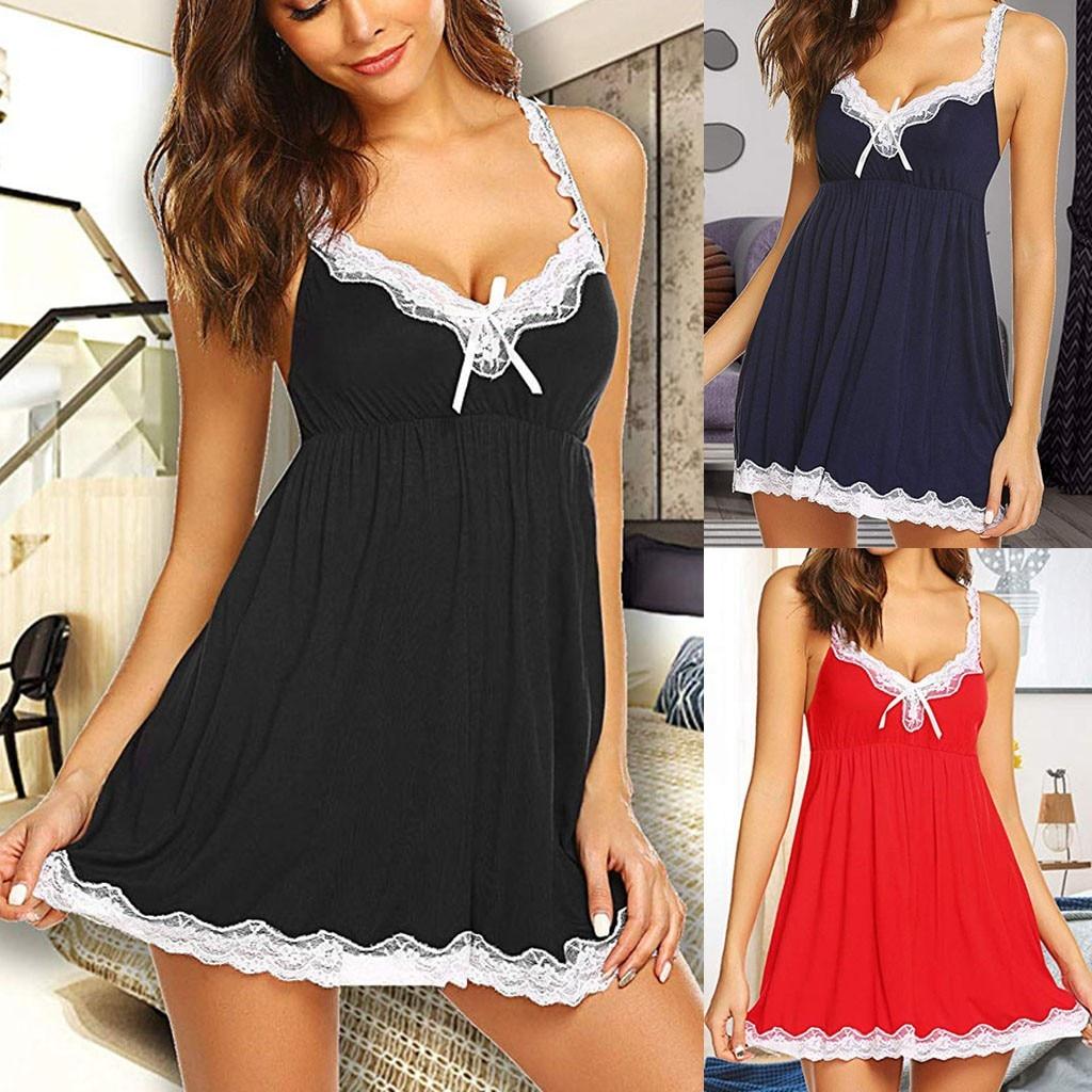 Summer Women Sleepwear Silk Nighty Nightdress Sexy Lingerie Nightgown Lady Off Shoulder Nightwear Female Night Home Cloth Dress