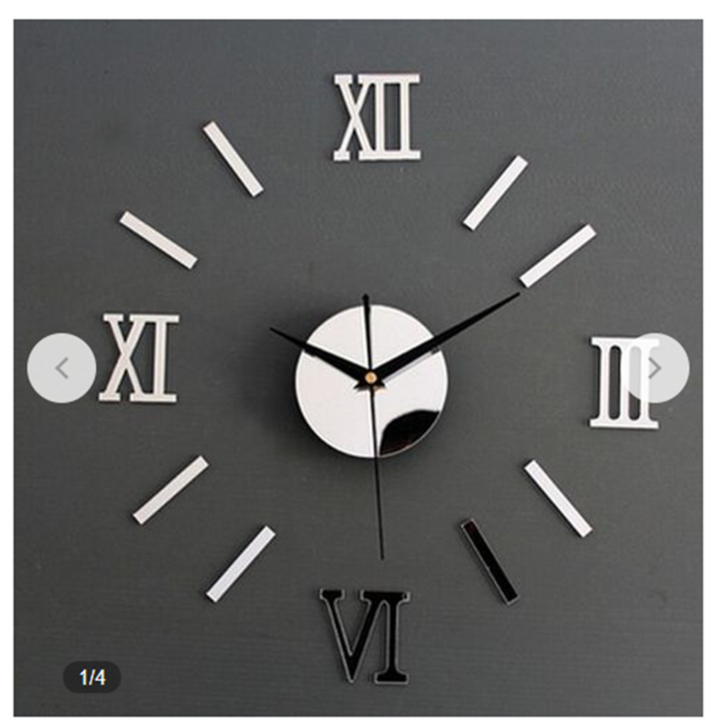 1pc Acrylic Wall Clock DIY Mute Mirror Sticker Living Room Decor 3D Roman Numbers Home Interior 3 Color