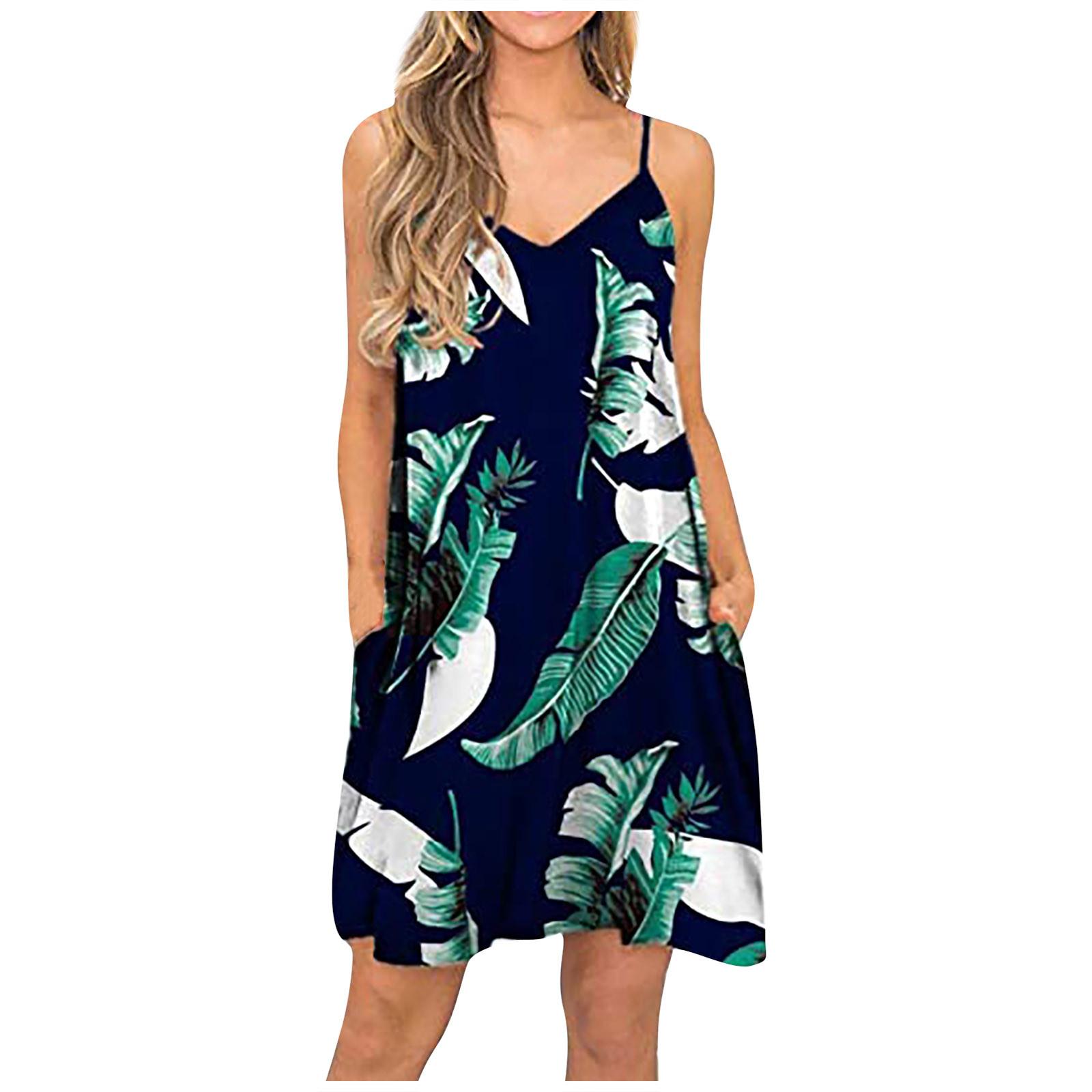 F# Summer Spaghetti Strap Dress Summer Casual Beach Cover Up Plain Pleated Tank Slip Mini Dresses Floral Printed Dresses Robe