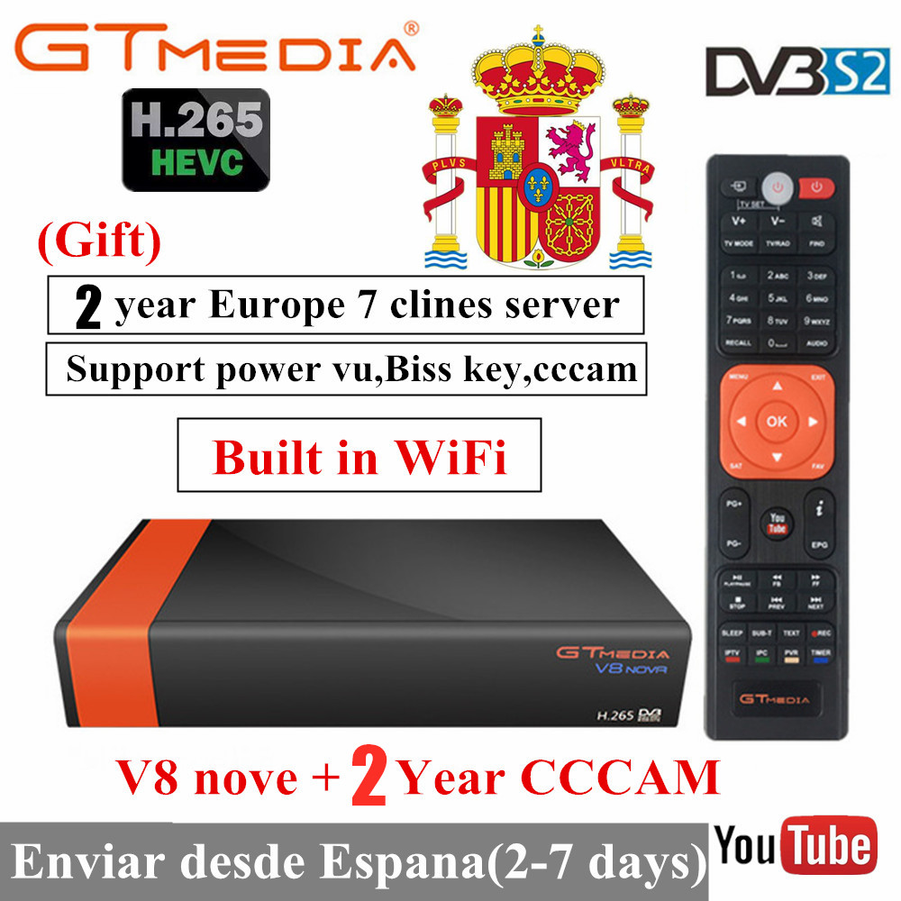 GTmedia V8 Nova Built WIFI DVB-S2 Freesat V9 Super H.265 Satellite TV Receiver Receptor With Europe 7Lines For 2 Year
