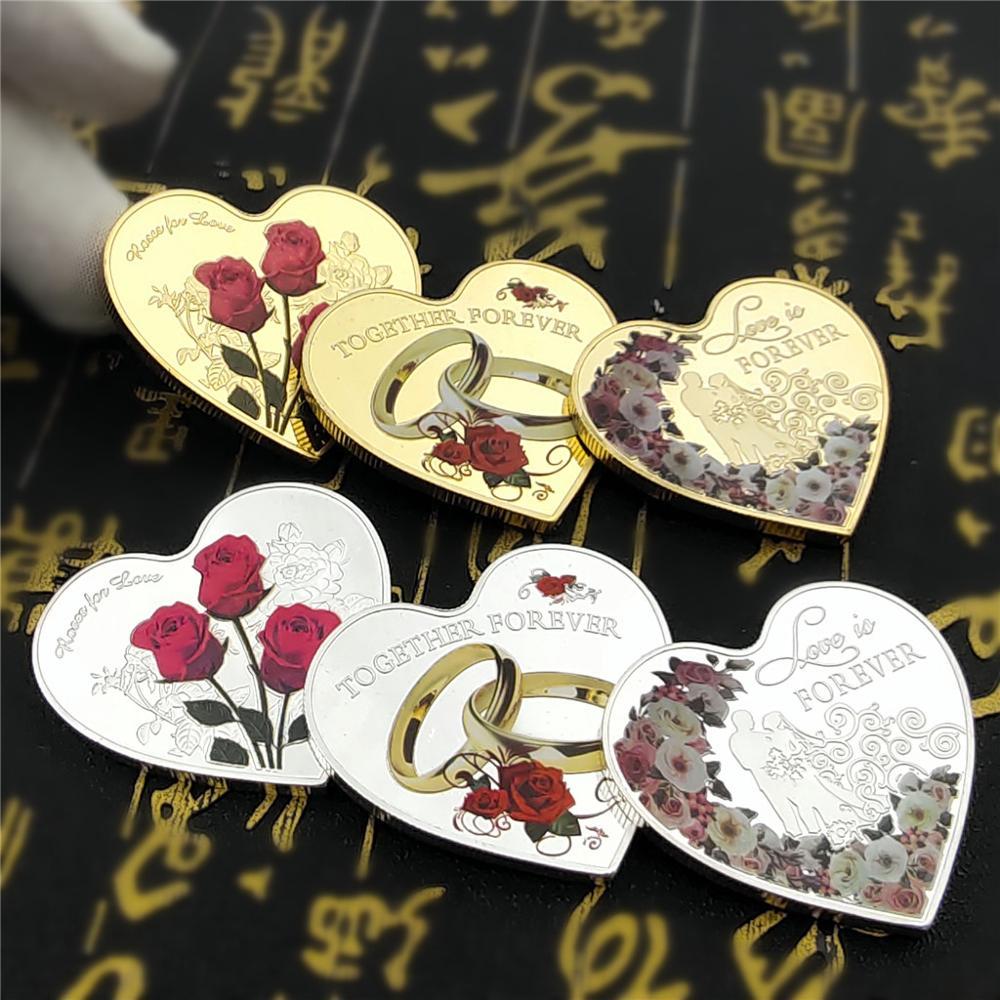 Новогодние подарки 2021, кольцо в форме сердца с розой, свадебная Золотая Серебряная монета для влюбленных, памятные монеты на День святого Ва...