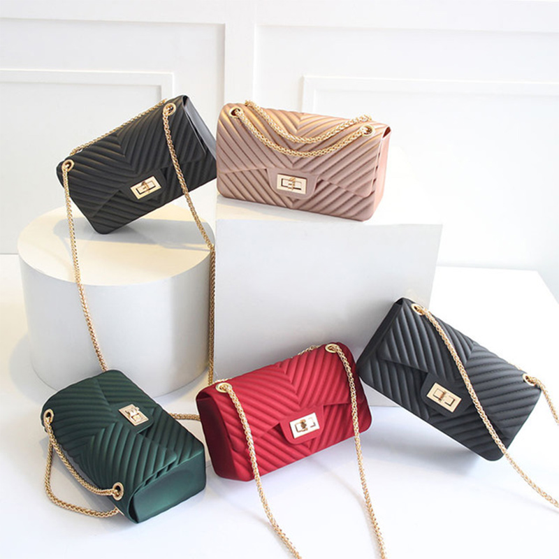 NEW Handbags Women Frosted Jelly Shoulder Bag Fashion Small Bag V-chain Messenger Bag Candy Color Female Clutch Crossbody Bags