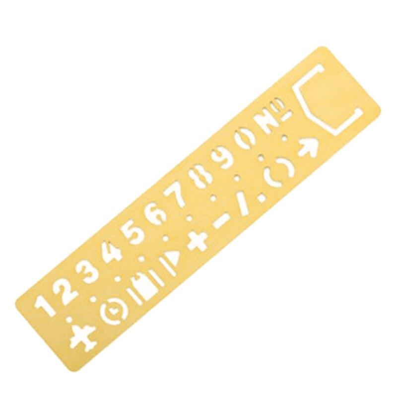 Kawaii Metal Hollow Straight Ruler Number Pattern Bookmark Diy Drawing Template Tool School Stationery Yellow