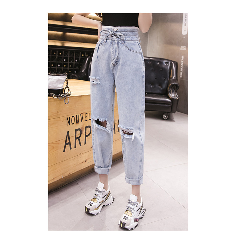 JUJULAND Summer Ripped Boyfriend Jeans For Women Loose Vintage High Waist Jeans Plus Size Jeans Pantalones Mujer Vaqueros 8583