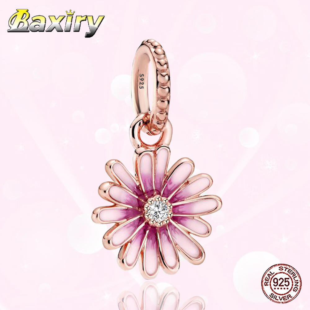 2020 New 925 Sterling Silver Fit Pandora 925 Original Charm Bracelet Pendant Pink Daisy Flower DIY Jewelry Making For Women Gift(China)