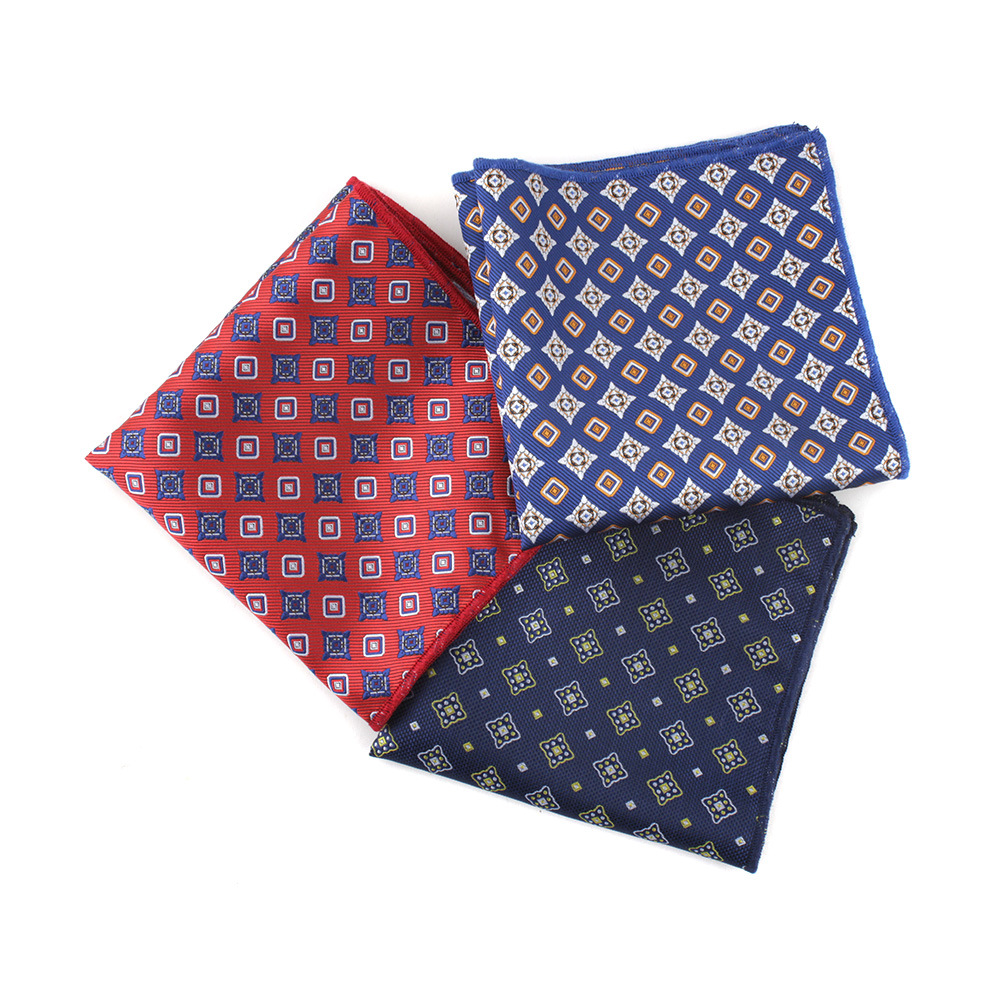 Men's Pocket Towel Europe And The United States Diamond Lattice Small Flower Men's Dress Office Professional Square Handkerchief