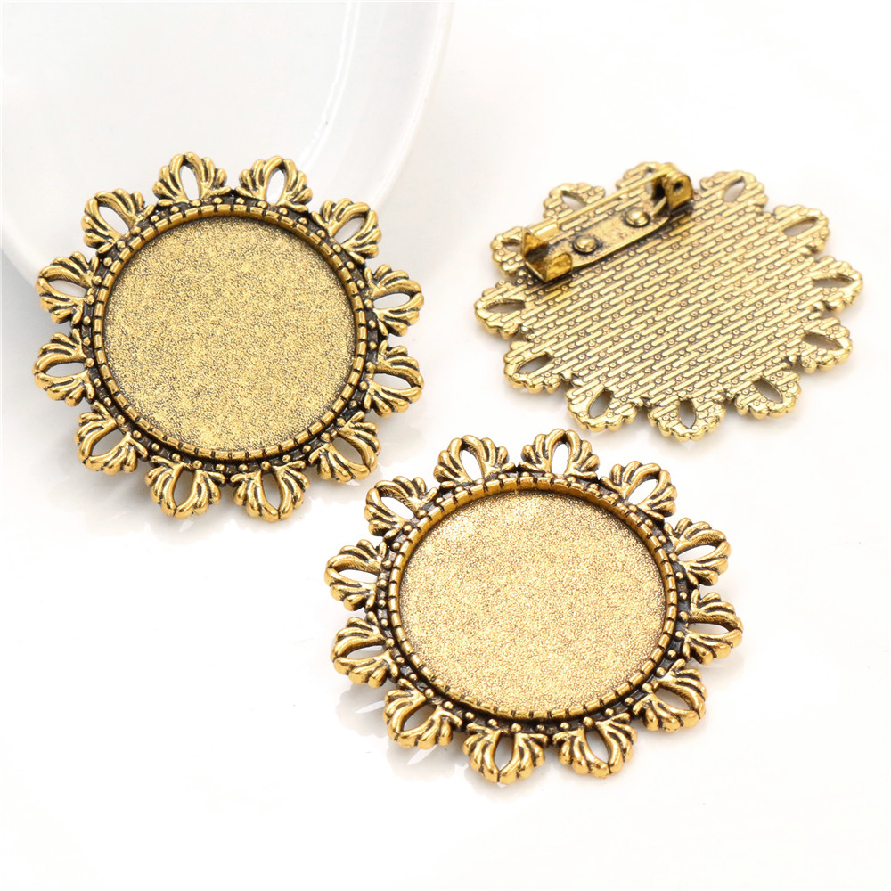 New Fashion 5pcs 25mm Inner Size Two Flower Cameo Style Antique Gold Color Plated Brooch Style Cabochon Base Setting-A3-21