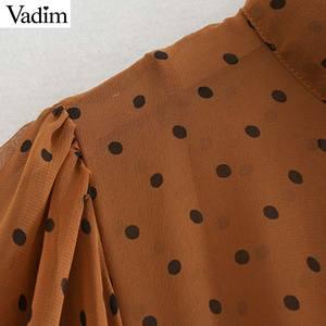 Image 3 - Vadim mujeres lazo collar puntos estampado midi vestido manga larga Mujer volantes vestidos elegante dos piezas conjunto vestidos QC778