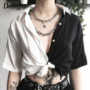 Darlingaga Street Style Black White Blouse Shirt Patchwork Chic Crop Top 2020 Fashion Women Blouses Loose Ladies Lace Up Summer