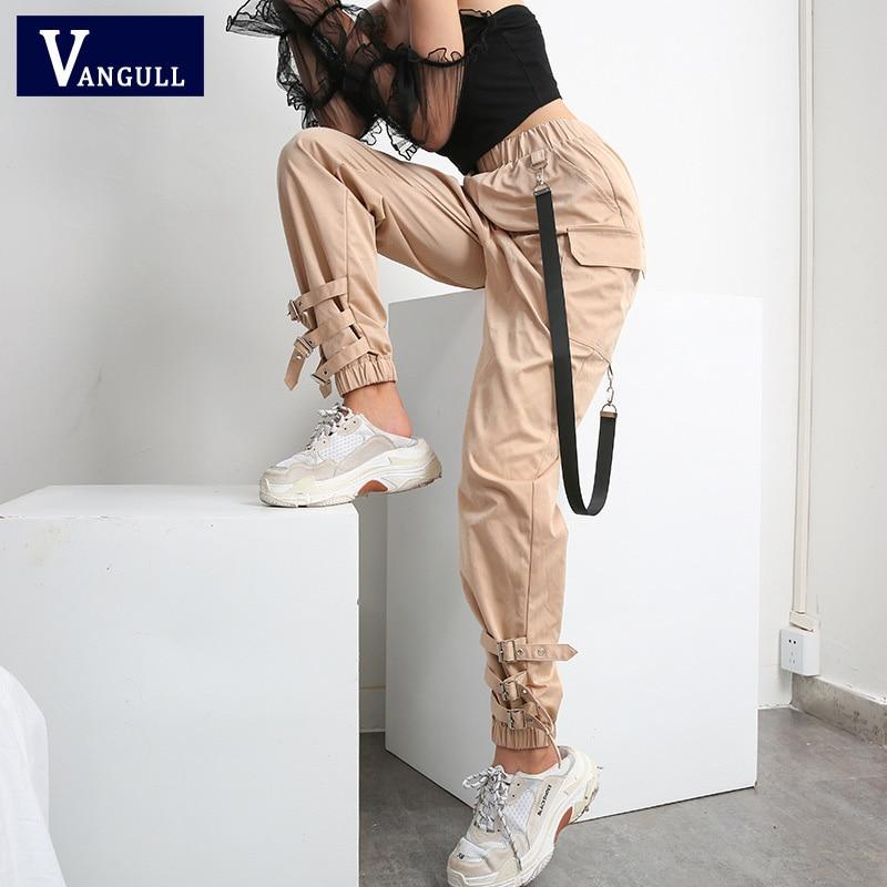 Vangull-pantalon taille haute pour femmes, pantalon Cargo, avec boucle sur les jambes, nouvelle mode printemps, avec ruban sur le côté, collection survêtement, collection 2019