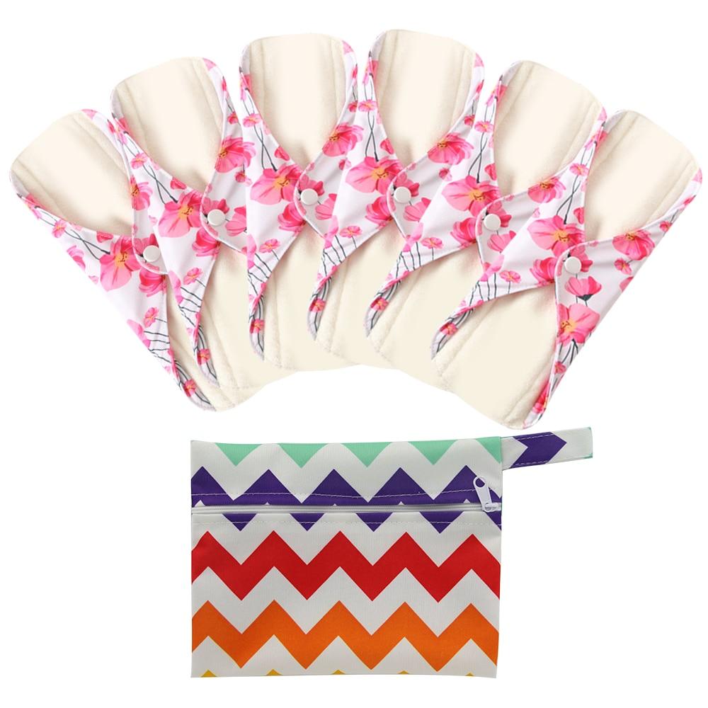 6+1Set Cloth Sanitary Menstrual Pads Reusable Washable Mama Menstrual Pad Bamboo Cotton Cloth Feminine Hygiene Panty Liner