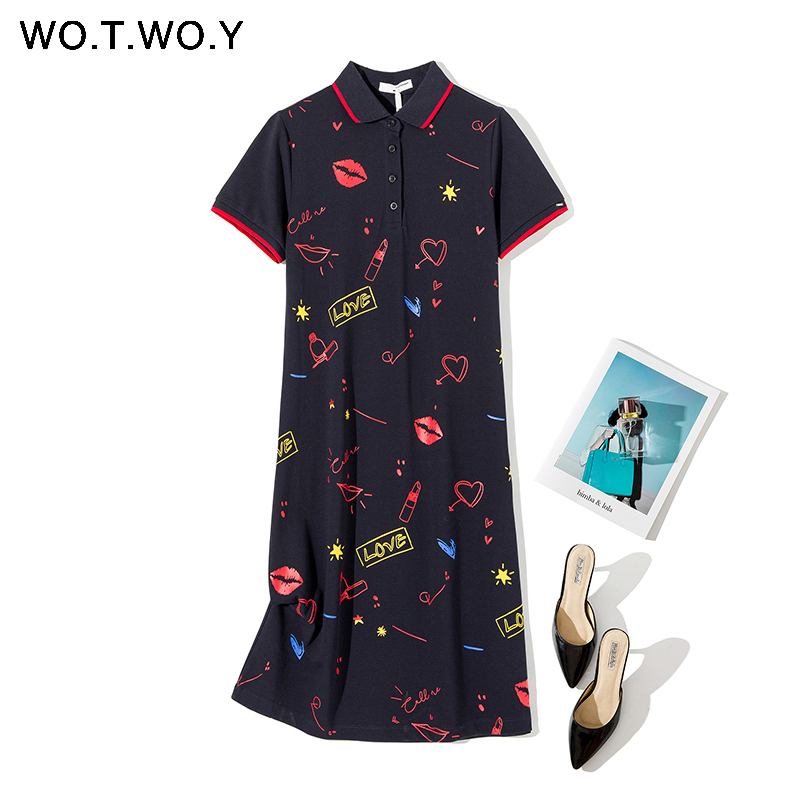 WOTWOY Casual Cute Polo Dress Women Cotton Printed Loose Style Summer Dresses Femme Short Sleeve Plus Size Vestidos Mujer Verano