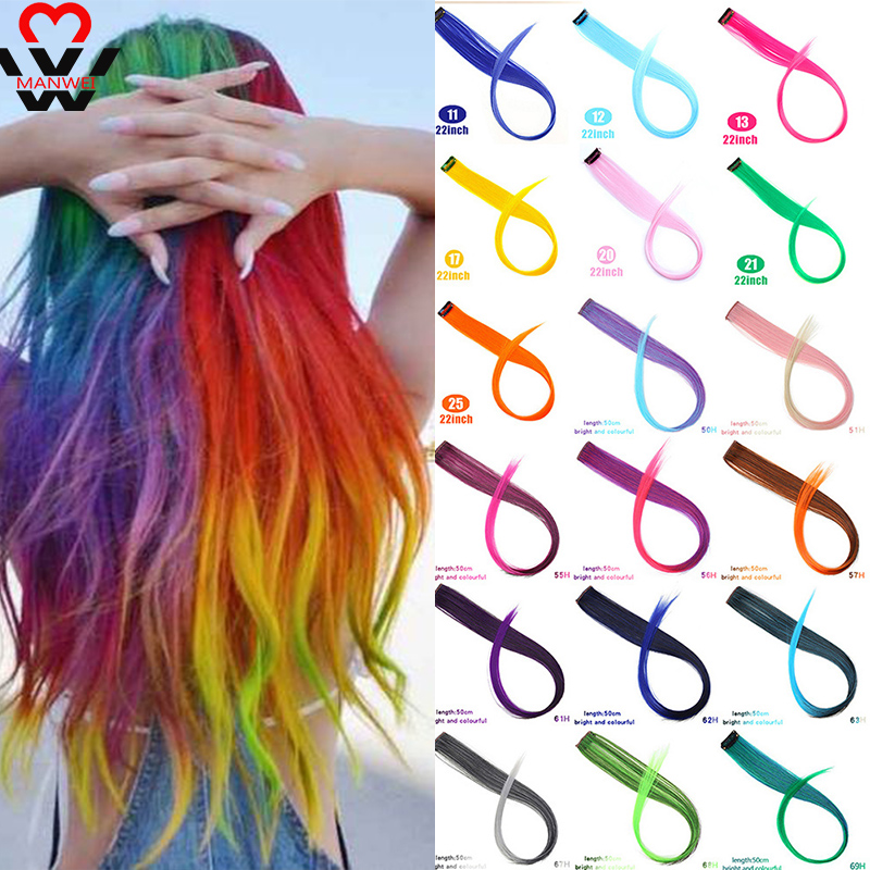 MANWEI 20inch Hair Extension Headbands Bands For Women Colored Pink Hair Synthetic Long Straight Hair Clip-in One Piece