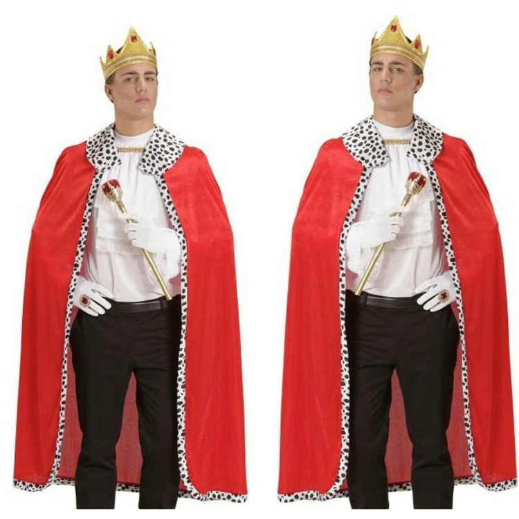 Halloween 130Cm Royal Rood Fluwelen Queen King Deluxe Cape Mantel Scepter Kostuum Purim Carnaval Cosplay Kerst