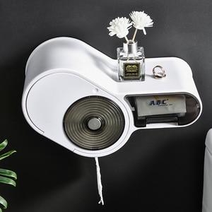 Image 3 - 다기능 무료 펀칭 티슈 상자 화장지 홀더 플라스틱 스토리지 박스 화장실 방수 욕실 액세서리