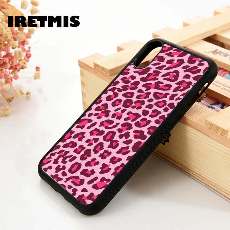 Iretmis 5 5S Se 6 6S Soft Tpu Silicone Rubber Phone Case Cover Voor Iphone 7 8 Plus X Xs 11 Pro Max Xr Roze Luipaard Huid