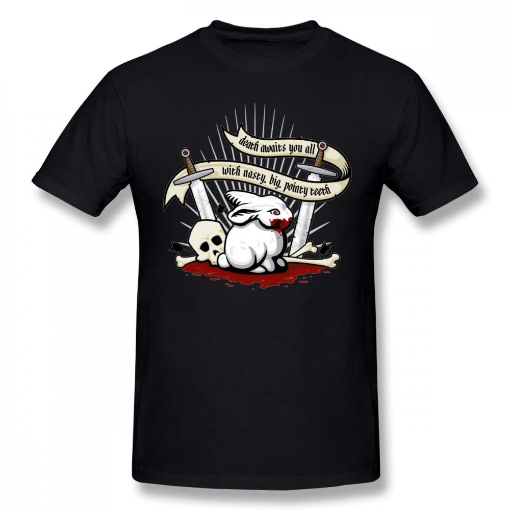 Organic Cotton Retro Stylish The Rabbit Of Caerbannog Tee Shirt For Man  Holy Grail Knights Monty Python T Shirt