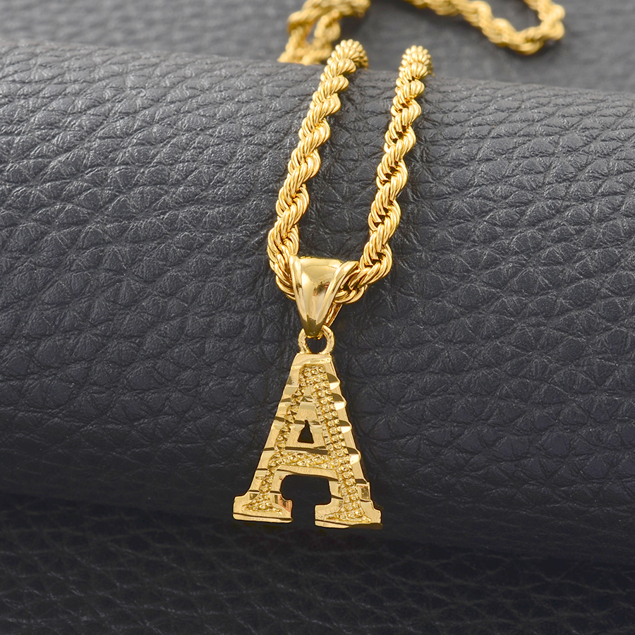 Anniyo A-Z Letters Necklaces Women Men Gold Color Initial Pendant Rope Chain English Letter Jewelry Alphabet African #058002B