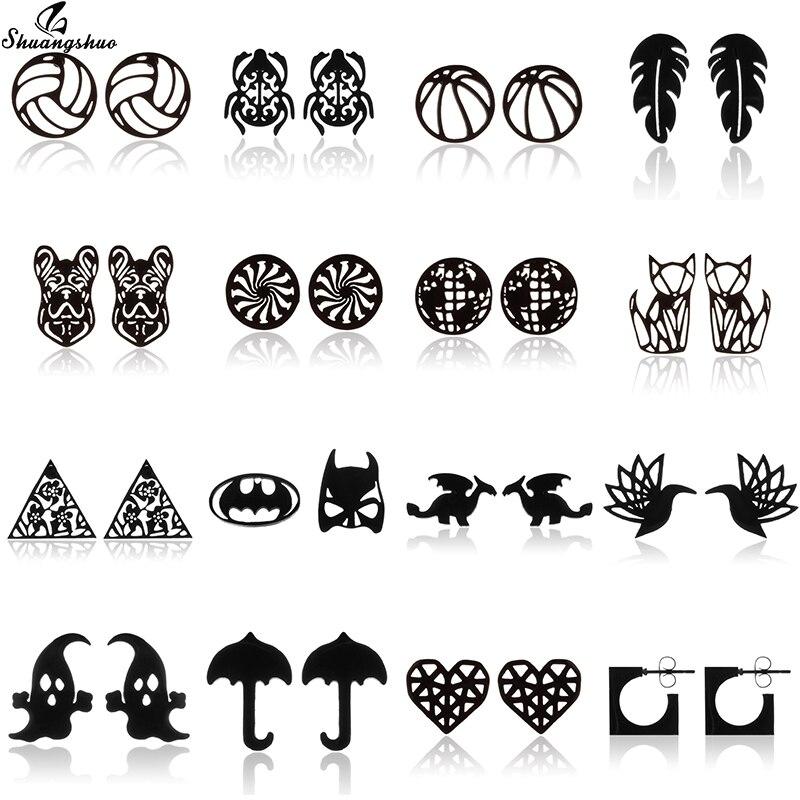 Серьги-гвоздики Shuangshuo в стиле бохо с черными животными, динозаврами, в стиле панк, Европа и искусство, для женщин и мужчин, крошечные серьги-г...
