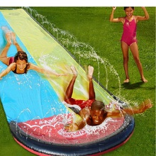 Children water slide double channels Swimming in summer Spray water on outdoor grass PVC inflatable surf toys