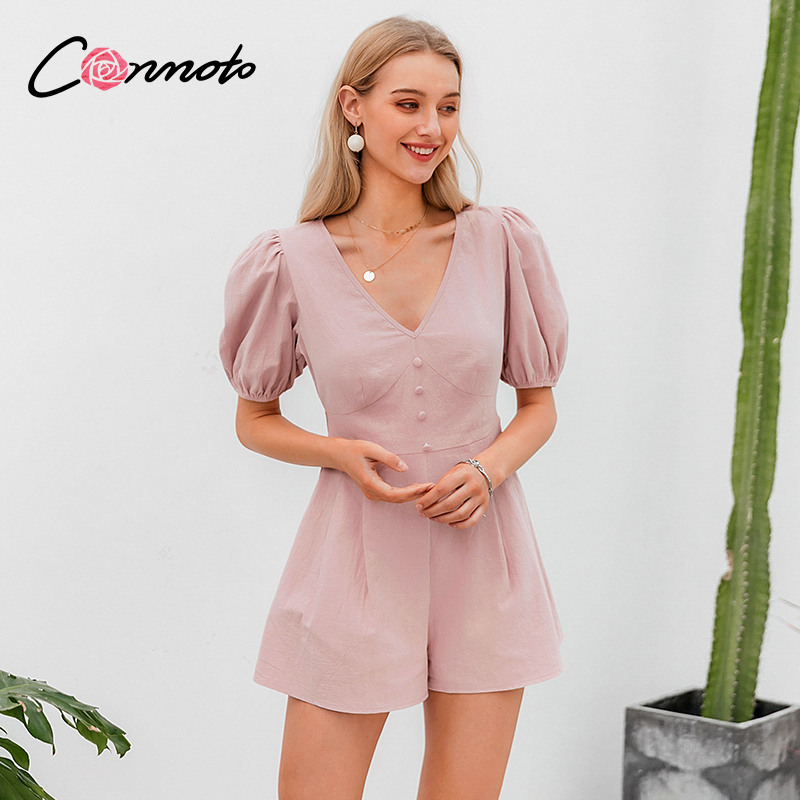 Conmoto Solid Pink Casual Button Rompers Women High Fashion OL Playsuits Rompers Vintage High Fashion Puff Short Rompers