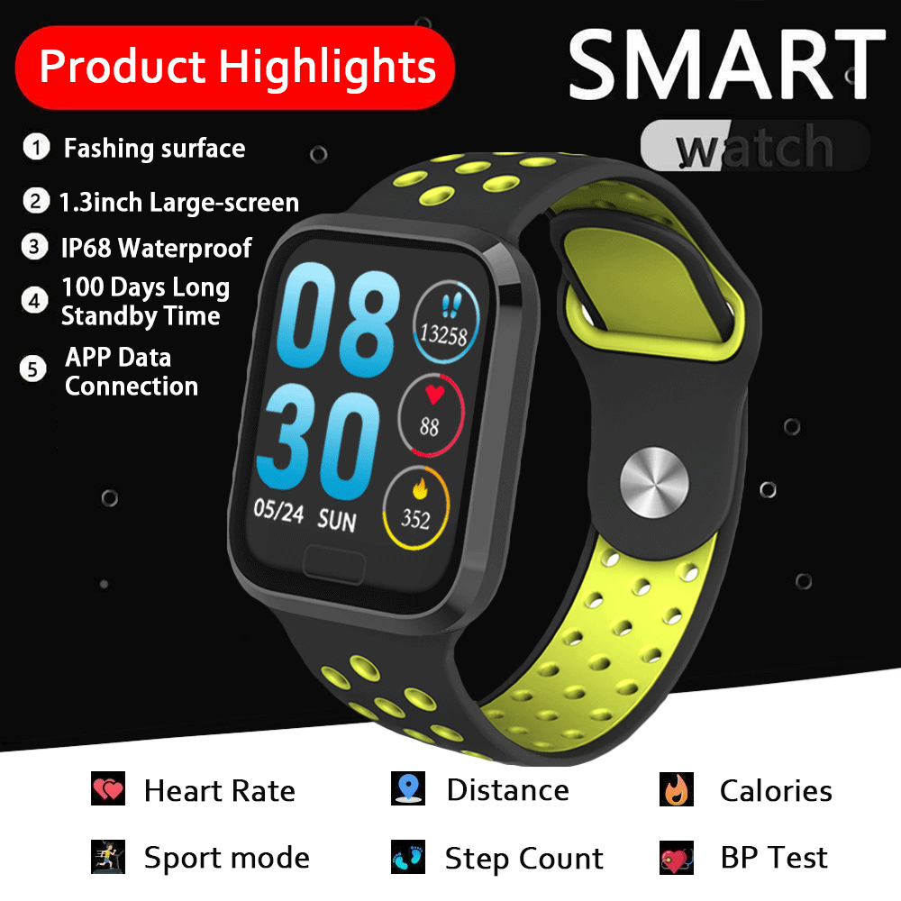 SKHO Smartwatch Waterproof Bluetooth Bracelet Heart Rate Monitor Wristband Fitness Tracker Smart Watch 116 Strap Charging Cable