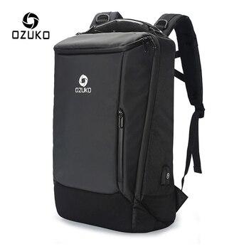 OZUKO Men 17 inch Laptop Backpack Multifunction Large Capacity Waterproof Backpacks Male Business Travel Bags USB Charge Mochila