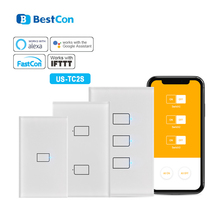 Broadlink Bestcon TC2S US Standard 1/2/3Gang 433MHZ Connection Wall Touch Panel Light Switch Remote Control With RM4 Pro