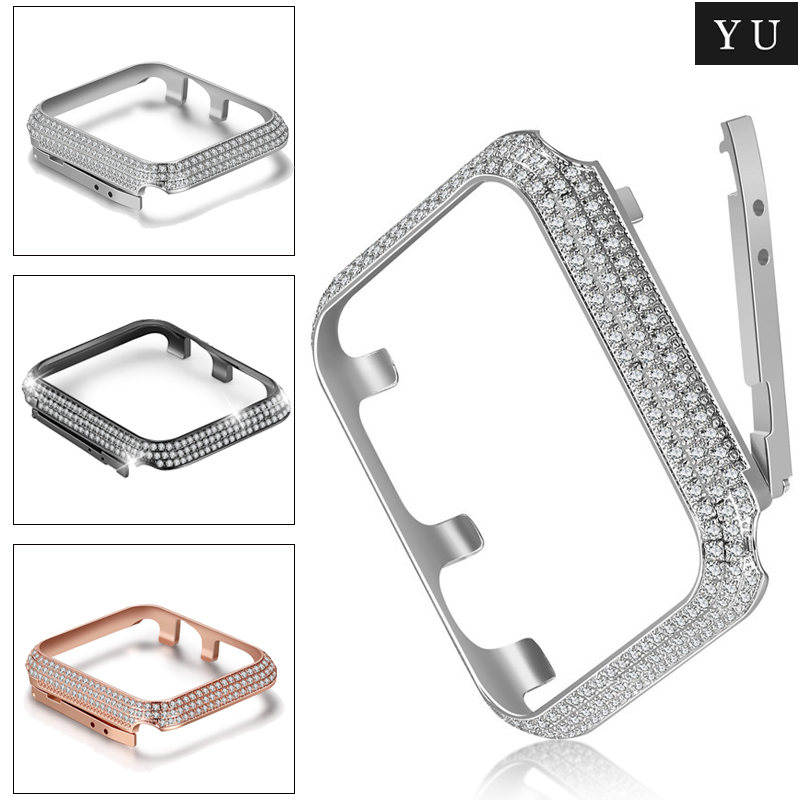 New Luxury Crystal Diamond <font><b>watch</b></font> Case for <font><b>Apple</b></font> <font><b>Watch</b></font> Series 5 4 <font><b>3</b></font> 2 1 Strap Bracelet bands for iWatch38/40/42/44mm Accessories image