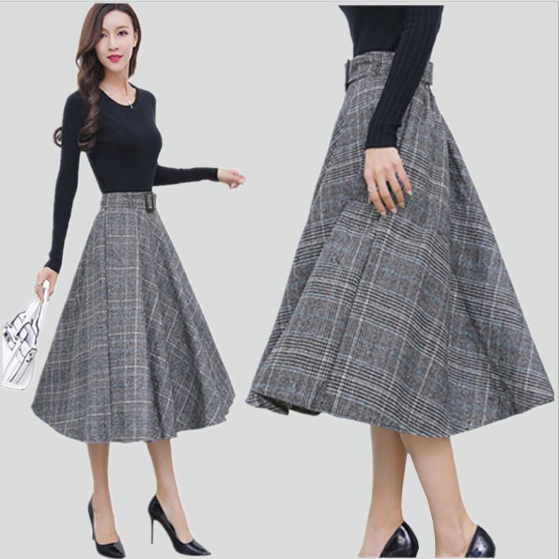 New Women's Fashion England Style Plaid High Waist Midi Skirts Woolen A Line Pleated Winter Women Tartan Skirts