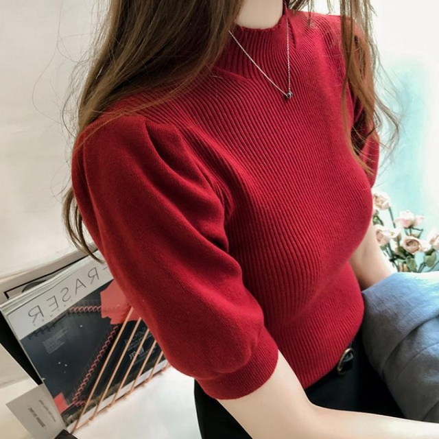 Half Turtleneck Knitted T-shirts Tops Woman Slim Short Puff Sleeve Buttons Soft Solid Autumn T-shirt Tee Female 1