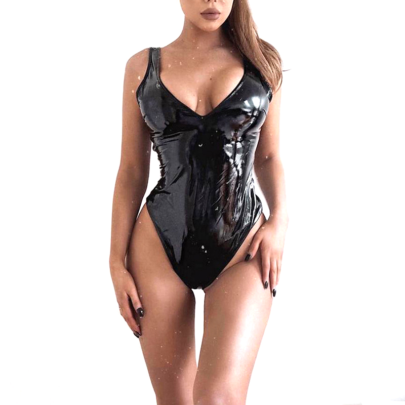 Leather Black Bodysuit Women Sexy Bodycon Female V Neck Backless Jumpsuit Bodys Black Bodysuits Female