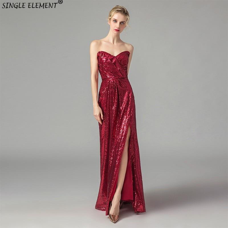Promotion de haute qualité Robe de soirée Sequin robes de demoiselle d'honneur abiye fête avec décolleté chérie