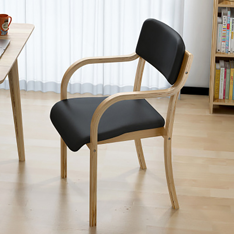 Solid Wood Dining Coffee Chair Modern Minimalist Computer Chair Office Home Leisure Desk Chair Curved Wood Backrest Armchair