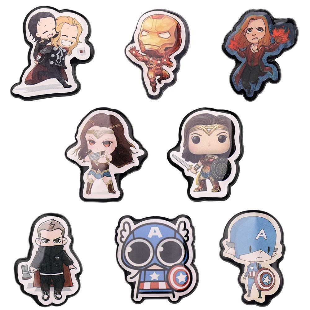 Super Hero Captain America Bros Avengers Set Perisai Bulat Merah Enamel Lencana Fashion Bros Pin untuk Wanita penggemar
