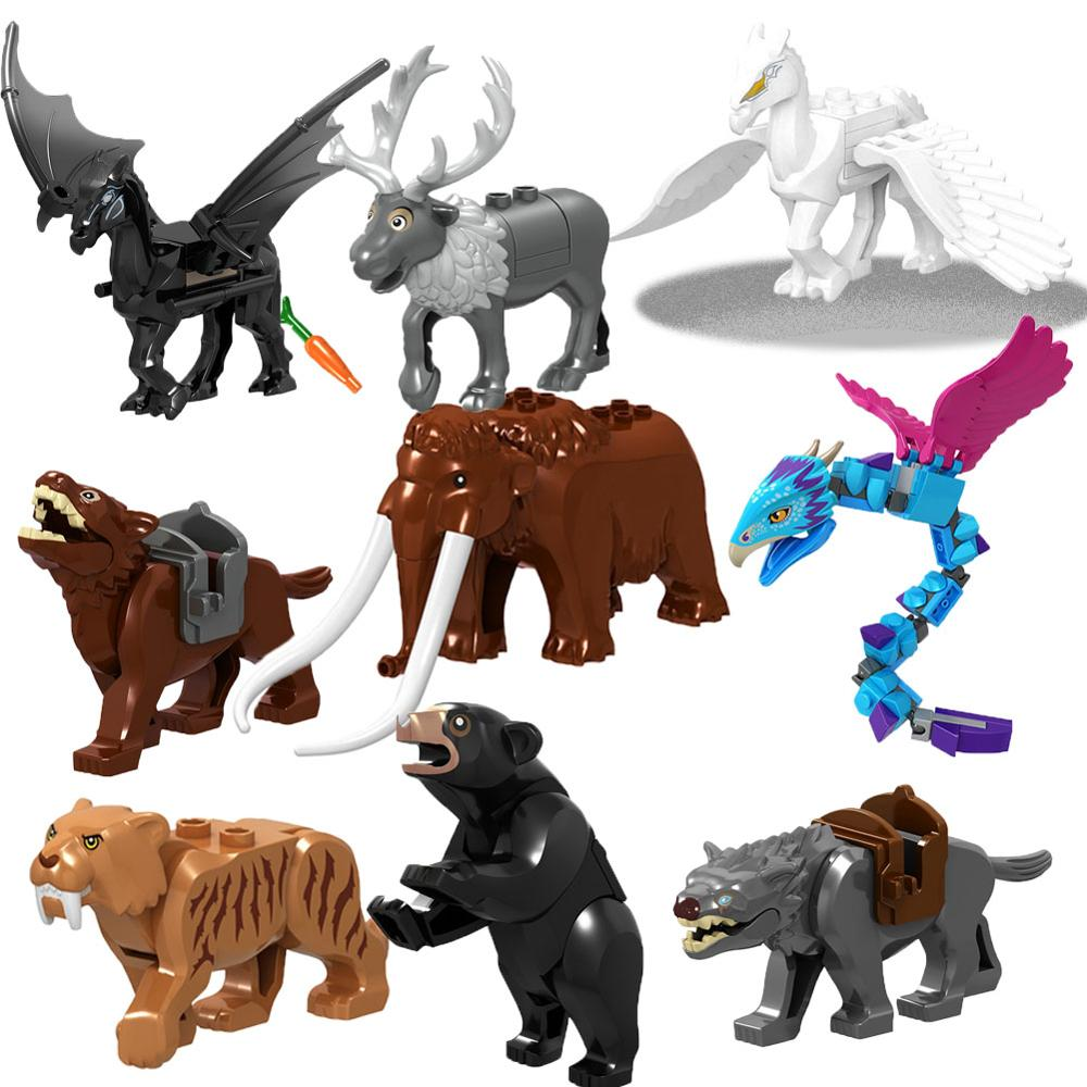 Dinosaur Ice Age Animals Tiger Fly Horse Elephant Mount Shark Black Camel Movie Building Blocks Toys for children Christmas gift image