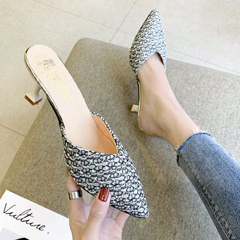 Woman Shoes 6cm High Heels Slippers Women Pointed Toe Ladies Female Slides Slippers Fashion Lady Mules Shoes For Women