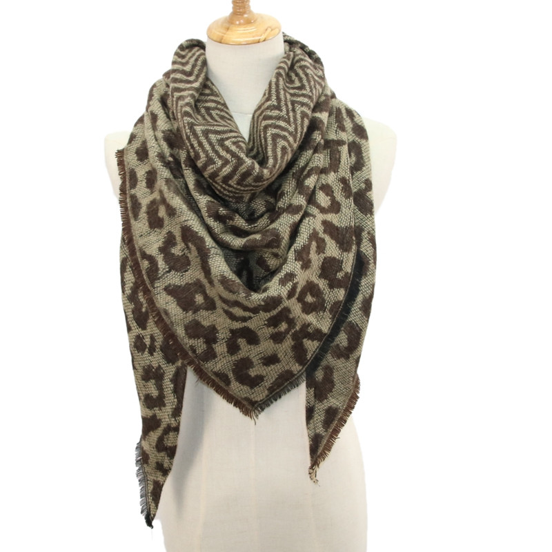 Women Scarf Winter Boho Warm Cashmere Scarf Fashion Leopard Printing Triangle Wrap Long Shawl Scarves And Stole Cape Scarf